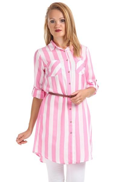 Çizgili Desenli Kemer Detaylı Patırtı Giyim Tunik Modelleri