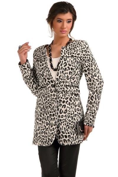 Leopar Desenli Patırtı Bayan Ceket Modelleri
