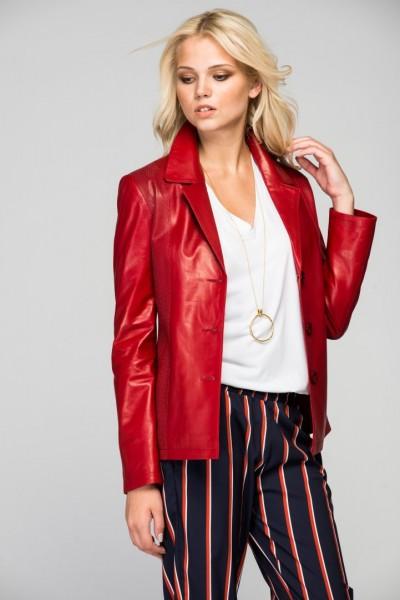 Yeni Sezon Kırmızı Renkli Deda Bayan Deri Ceket Modeli