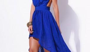 Önü Kısa Arkası Uzun Mavi Yazlık Elbise Modelleri 2016