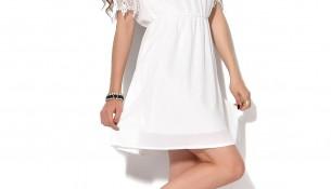 Kayık Yaka İşlemeli Beyaz Patırtı Giyim Yazlık Elbise Modelleri 2016