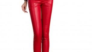 Yüksek Bel Deri Kırmızı Pantolon Modelleri