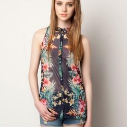 Şifon Detaylı Çiçek Desenli Bayan Gömlek Modelleri 2016