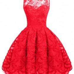 Dantel İşlemeli Yazlık Kırmızı Elbiseler