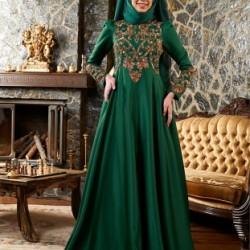 En Şık Zümrüt Yeşili Tesettür Abiye Modelleri 2016