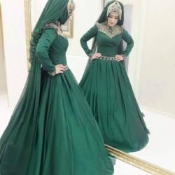 En Gösterişli Zümrüt Yeşili Tesettür Abiye Modelleri 2016