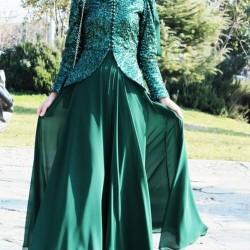 En Güzel Zümrüt Yeşili Tesettür Abiye Modelleri 2016