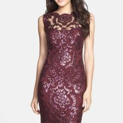 En Zarif Bordo Renkli Dantel Elbise Modelleri 2016
