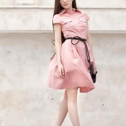 Kemer Detaylı Ön Cepli Çok Şık Pembe Elbise Modelleri 2016