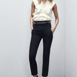 Parlak Kemer Detaylı Yüksek Bel Kumaş Pantolon Modelleri 2016