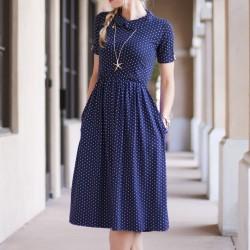 Puantiyeli Cepli Midi Elbise Modelleri