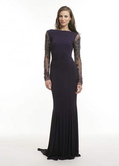 Tül Kol Detaylı Pileli Etekli Vakko Elbise Modelleri 2016