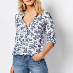 Yazlık Çiçek Desenli Bayan Gömlek Modelleri 2016