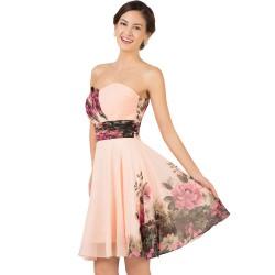 Yazlık Çiçek Desenli Straplez Elbise Modelleri 2016