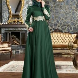 Yeni Sezon Zümrüt Yeşili Tesettür Abiye Modelleri 2016