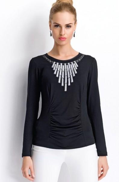 Aksesuar Detaylı Çok Şık Abiye Bluz Modeli