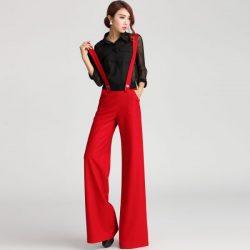 Kırmızı Renkli En Güzel Askılı Pantolon Modelleri