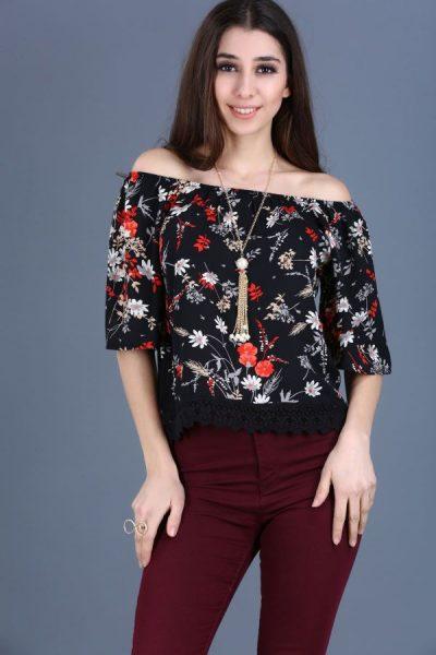 Kayık Yaka Çiçek Desenli Bluz Modelleri 2017